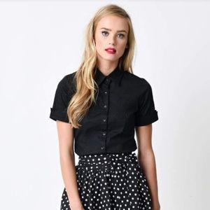 black vintage style button up blouse